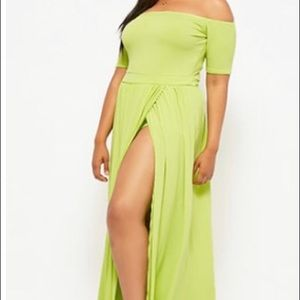 Off the shoulder maxi skort